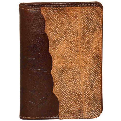 Leather wallet without coinpocket, decorated with burbot skin leather