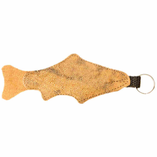 Floating Key Chain, big, burbot skin leather