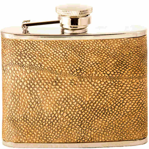 Hip flask 12 cl, burbot skin leather