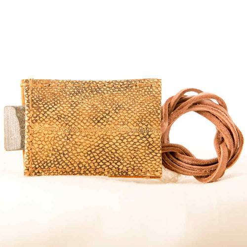 Hook sharpener in a burbot leather case with necklace