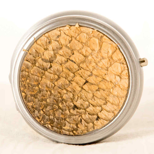 Round pillbox, salmon skin leather