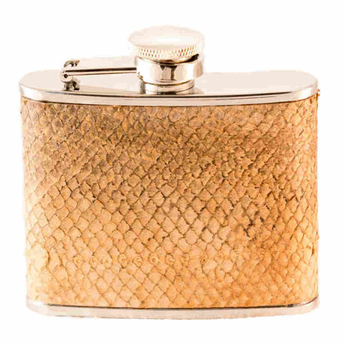 Hip flask 12 cl, salmon skin leather