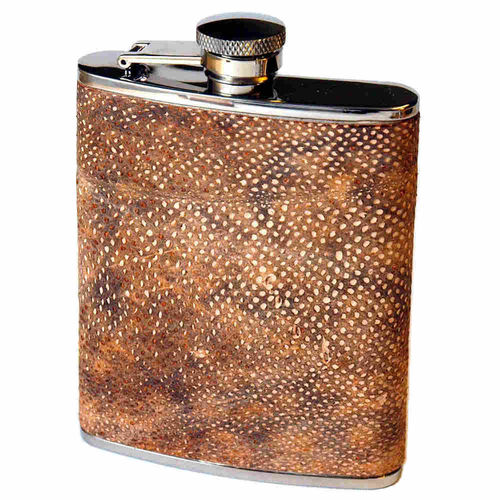 Hip flask 20 cl, burbot skin leather