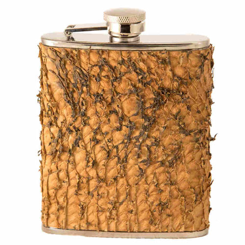 Hip flask 20 cl, pike skin leather