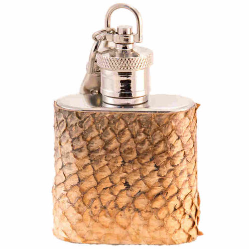 Mini Hip flask 3 cl, salmon skin leather