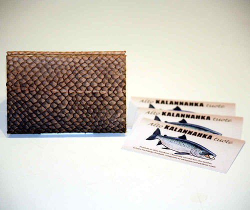 Card holder for Business cards, Salmon leather