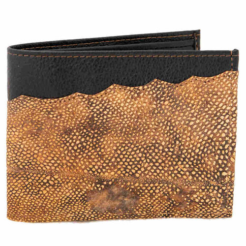 Leather horizontal wallet with coinpocket, Decorated with burbot skin leather