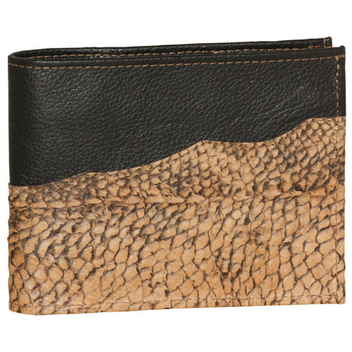 Leather horizontal wallet with coinpocket, Decorated with pikeperch skin leather