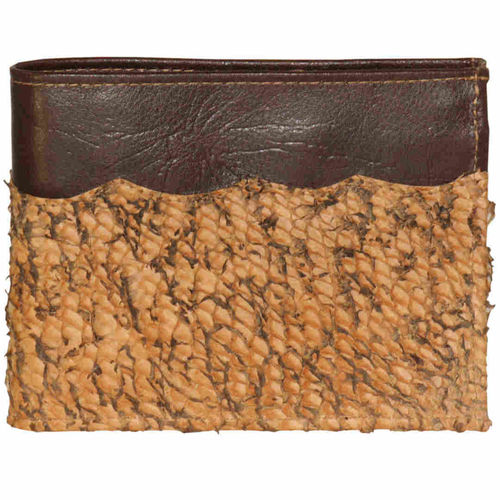 Leather horizontal wallet with coinpocket, Decorated with pike skin leather