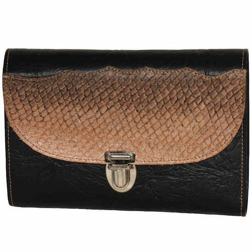 Women's small shoulder bag, salmon skin leather