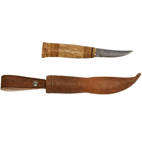 Damascus puukko knife with Burbot leather steath, SK20-5