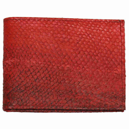Red Salmon Leather horizontal wallet with coinpocket