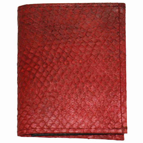 Small wallet with coinpocket, whole surface red salmon skin leather