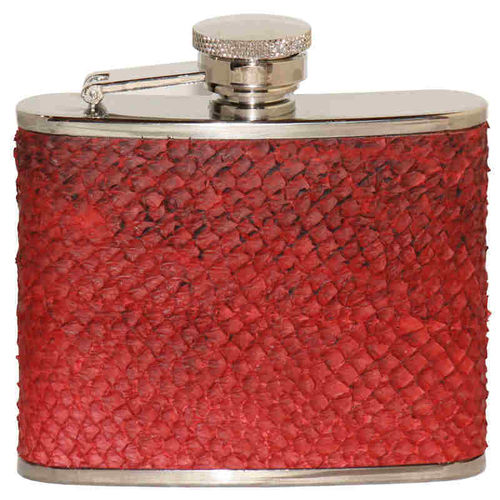 Hip flask 12 cl, red salmon skin leather