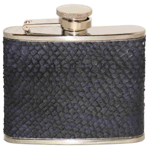 Hip flask 12 cl, dark blue salmon skin leather