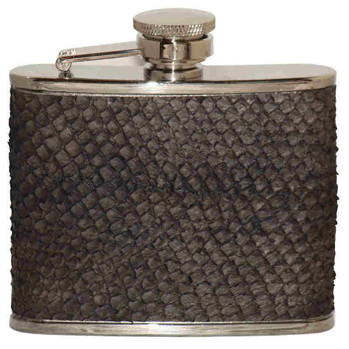 Hip flask 12 cl, black salmon skin leather