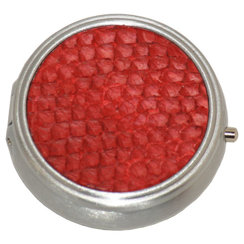 Round pillbox, red salmon skin leather