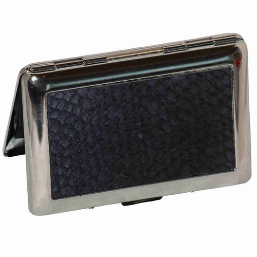 Card holder for credit cards, dark blue salmon skin leather