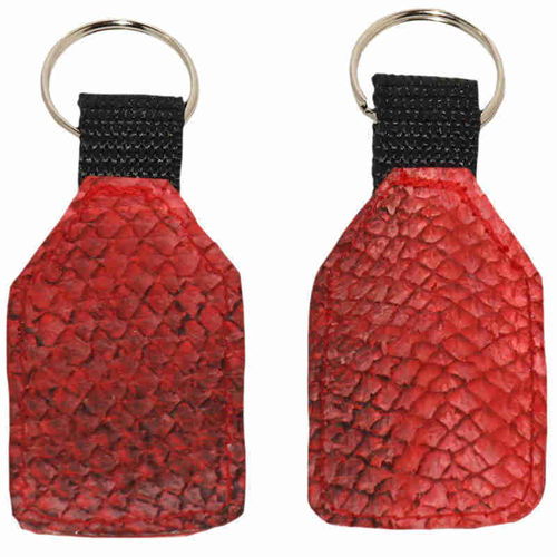 Flat Keychain made of red salmon skin leather