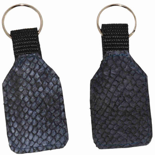 Flat Keychain made of dark blue salmon skin leather
