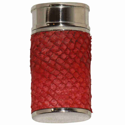 Pocket ash tray / pill box, red salmon skin leather