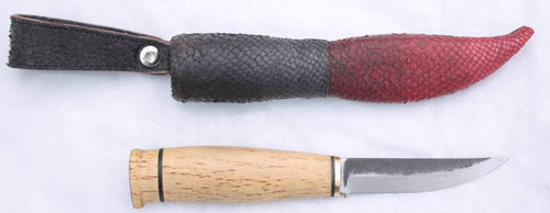 Puukko knife with red and black Salmon leather steath, SK20-9
