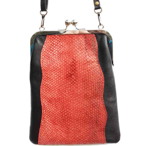 Framed shoulder bag, Salmon leather