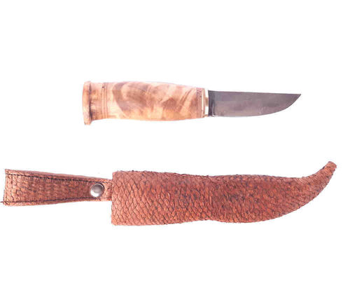 Damascus puukko knife with pikeperch leather steath, SK20-14