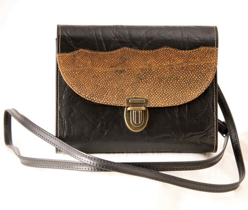 Women's small shoulder bag, fish skin leather